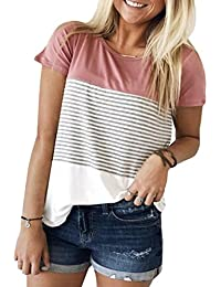 Women's Summer Short Sleeve Striped Blouse Junior Casual Tunic Tops T-Shirt