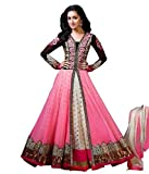 Aarvicouture Women's Gown Latest Party Wear Designer Net silk Embroidery Semi Stitched Free Size Salwar Suit Dress Material Available On Sale