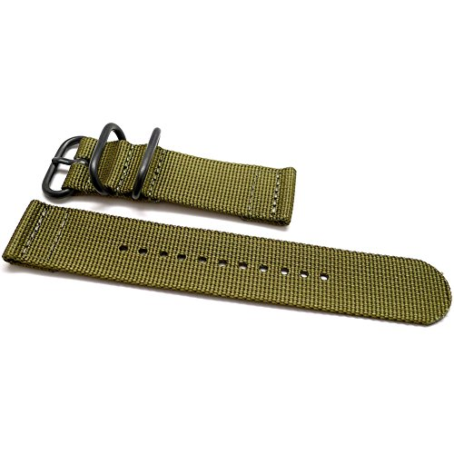 DaLuca-Two-Piece-Ballistic-Nylon-NATO-Watch-Strap-Olive-PVD-Buckle-20mm