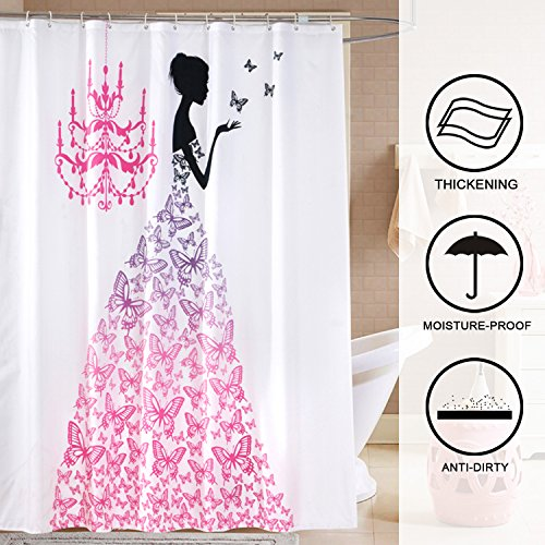 Hogoo Shower Curtain Polyester Waterproof Mildew Resistant with 12pcs Plastic Hooks, 72 x 72 inches,Butterfly Princess