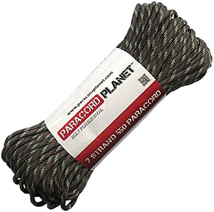 PARACORD PLANET 7 Strand 100FT Core 550 Parachute Cord Camping//Hiking Rope