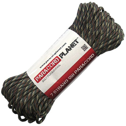 Paracord Planet 100' Hanks Parachute 550 Cord Type III 7 Strand Paracord Top 40 Most Popular Colors (Camo Pattern)