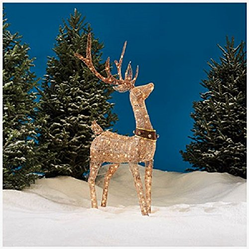 - Christmas 5' Lighted Champagne Gold Deer With Brown Collar Bells & Large Antlers Indoor Outdoor Holiday Sculpture Decoration