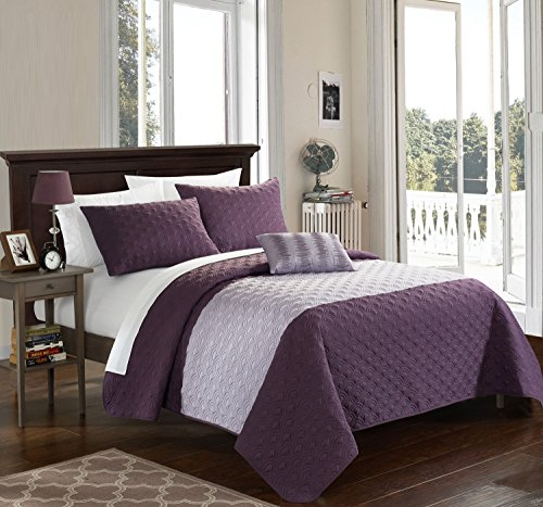 Chic Home 4 Piece Dominic Geometric Quilting Embroidery King Quilt Set Lavender Shams and Decorative Pillows included (Quilt Geometric compare prices)