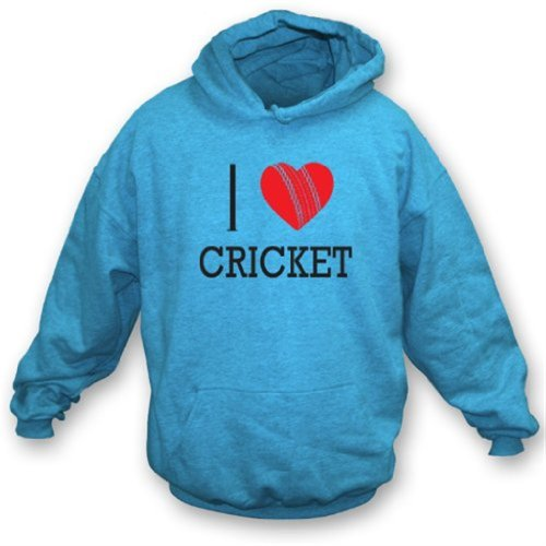 I Love Cricket Hooded Sweatshirt XX-Large Sky - Mens Cricket Hoodie
