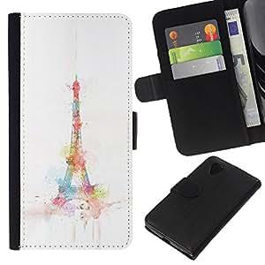 KLONGSHOP // Tirón de la caja Cartera de cuero con ranuras para tarjetas - Torre París Acuarela minimalista - LG Nexus 5 D820 D821 //