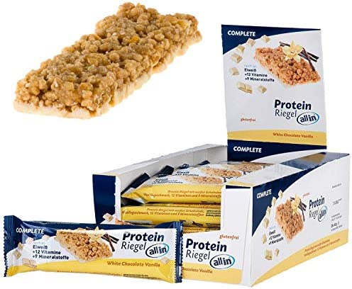 all in® COMPLETE Protein Riegel White Chocolate & Vanilla 25x 40g - Eiweiss Protein Snack mit Weißer Schokolade und Vanille Mahlzeitenersatz Riegel | Fitness Food Food Replacement Fitness Snacks