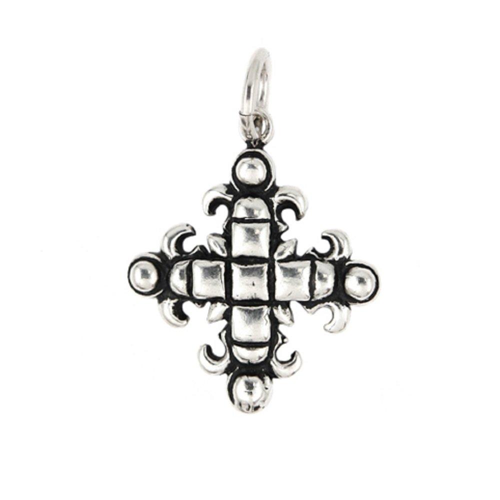 CloseoutWarehouse Sterling Silver Square Fleur De Lis Cross Pendant