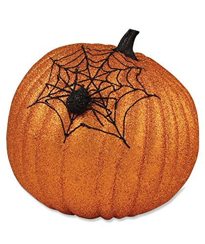 Bethany Lowe Orange Glittered Spiderweb Pumpkin, Large LC3673