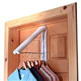 The Original InstaHANGER - Folding Wall Mounted Clothes Storage/Drying Rack for Laundry/Heavy Duty Clothes Storage - Includes Over Door Bracket