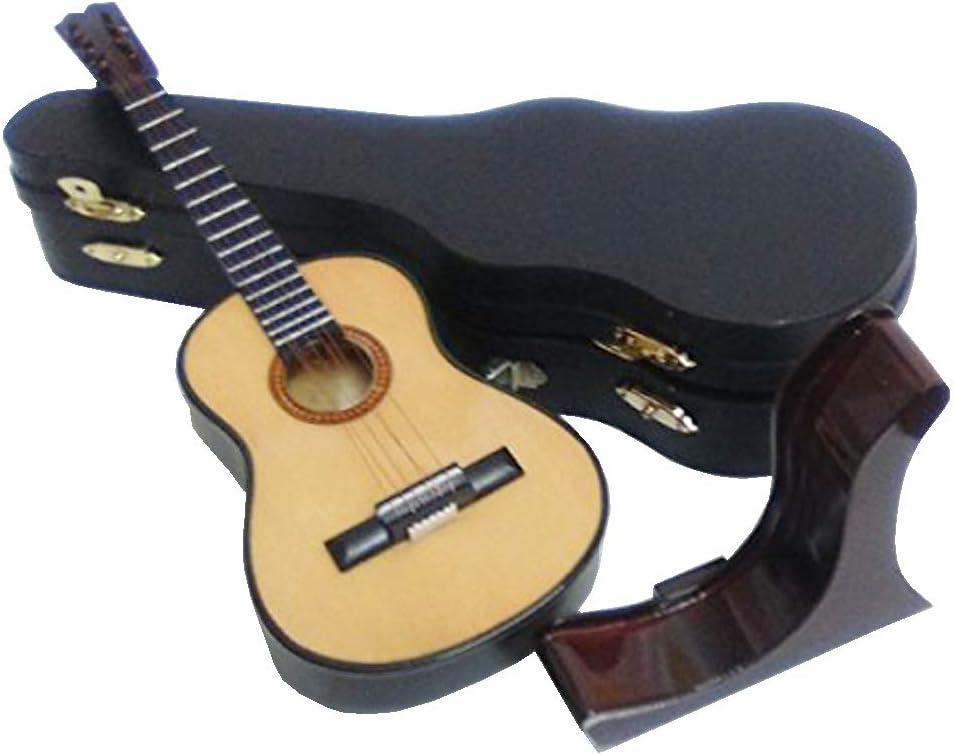 Ciaf 2503-1162-Guitarra española Decorativa Miniatura en Madera, 19 centimetros. con Estuche y Soporte