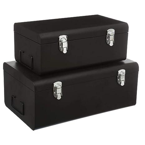 DEPOTMANIA Conjunto de 2 Cofres Cajas de almacenaje de Metal – Estilo Comedor – Color Negro