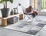 LIFA LIVING Multicoloured Rugs for Living Room | Area Patchwork Carpets for Bedroom | Different Vintage Oriental Patterns | Dark Grey 160_x_230 cm