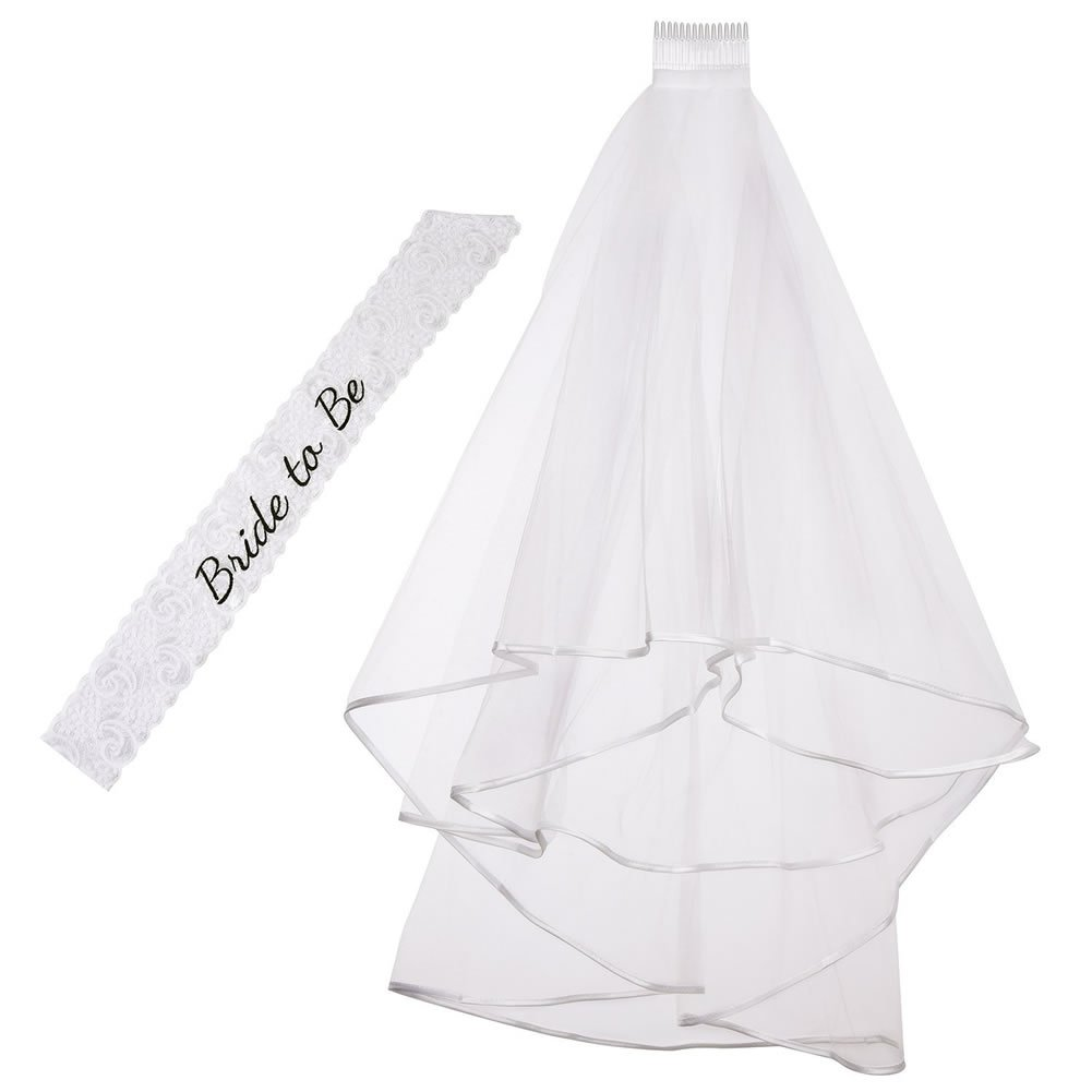 Hen Night Veil and Bride to Be White Embroidered Lace Sash CCINEE Hen Party Bride to Be Veil and Sash 2 Pieces