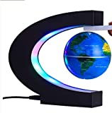 "Floating Globe with Colored LED Lights 3"" World Map Earth Planet Magnetic Anti Gravity Levitation Levitating C Shaped Ball Office Desk Decoration Home Decor Kids Educational Gift Blue (Levi-Magic)"