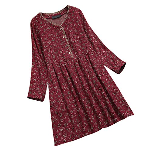 Women Fashion Vintage Long Sleeve Print Dress Button Front Round Neck Pleated Dresses by Lowprofile Red -