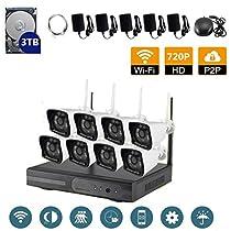 VOYAGEA 8CH 720P NVR Night Vision IP Surveillance Camera Kit 3TB HDD Wireless Home Surveillance Security Camera System,8 pcs 1.0MP Night Vision720P Security IP Cameras A34