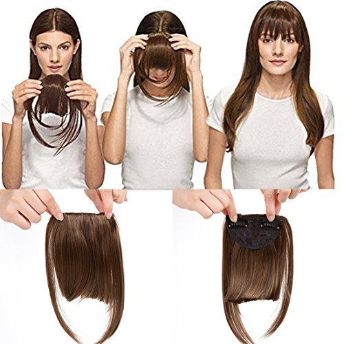 Liyate New Fashion Straight Hair Bangs Clip in Hair Extensions 1 piece (2 clips) Synthetic Hair (clip bangs, 2/30#)