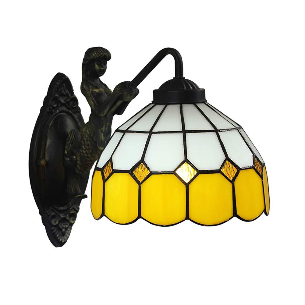 Wandleuchte,Retro-Glas Wohnzimmer Esszimmer Esszimmer Bar Gang Gelbe Mediterrane Wandleuchte