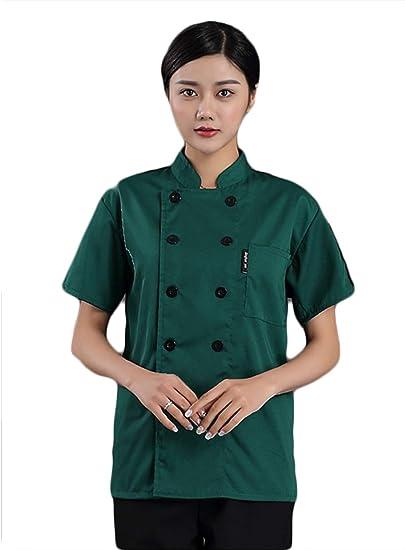 WYCDA Camisa de Cocinero Cocina Uniforme Manga Corta Apto ...