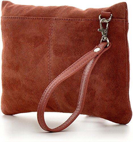 CNTMP - bolso para señora, clutches, clutch, bolsos de mano, bolsas de noche, bolsas de fiesta, bolsos de tendencia, gamuza, ante,flecos,bolso de cuero, 23 x 16, 5x1cm (l x an x a) Rojizo