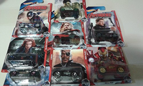 腸ペンダント等Complete Set of Hot Wheels Marvel Avengers