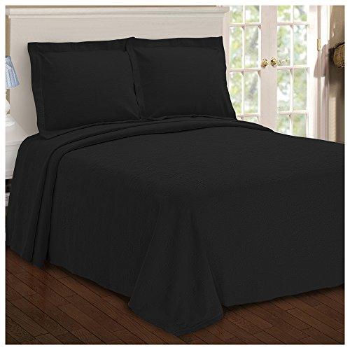 Black Sham - Superior Paisley Jacquard Matelassé 100% Premium Cotton Bedspread with Matching Shams, Queen, Black