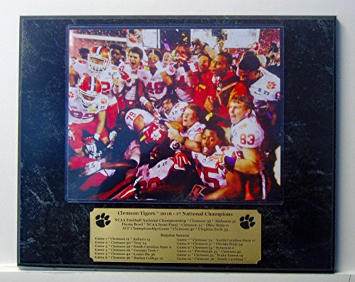 8x10 team photo of Clemson Tigers national championships mounted on a 12