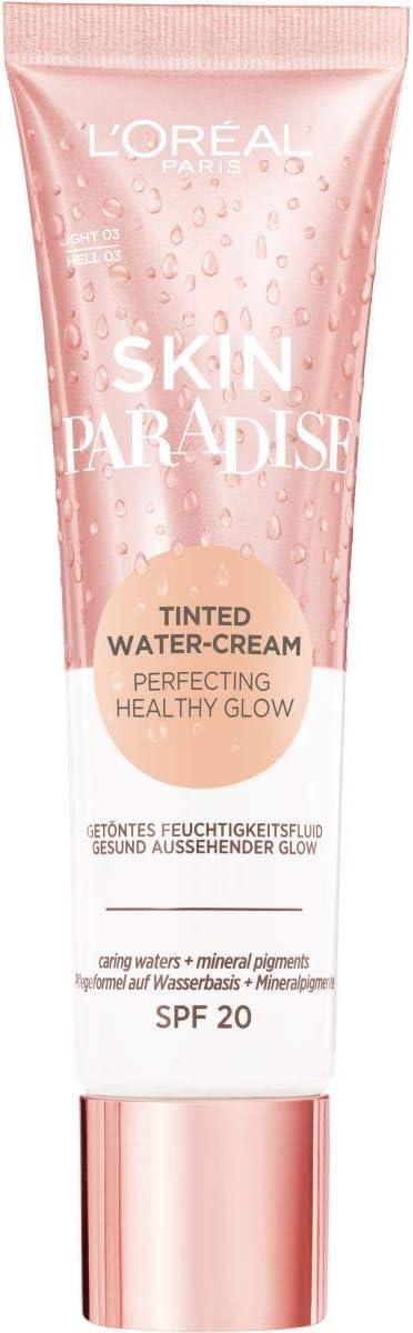 L'Oreal Paris Make-Up Designer Skin paradise Water-Cream Hidratante con Color y Spf 20, Tono Piel Medio Light 03 39 g