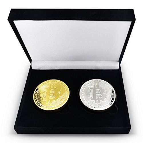 2Piece Set - Gold & Silver Plated Bitcoins Set w/ Unique Bitcoin Velvet Display Case to HODL Cryptocurrency - Limited Edition BTC Crypto Coins Mining |Pair w Trezor Wallet Or Ledger Nano Hardware Case (Rare Dollar Coins)