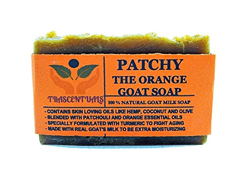 Price comparison product image Turmeric Soap With Patchouli Oil Goat Milk and Orange Essential Oil 100% Natural and Handmade Comes in Gift Box Contains Coconut Olive Hemp Oil (1 Pack)