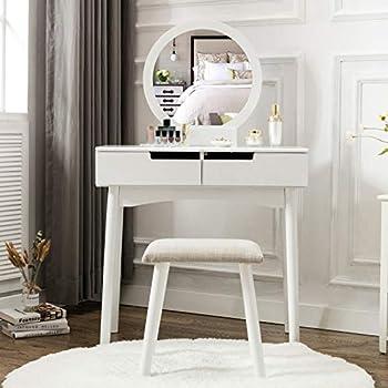 Amazon Com Honbay Vanity Table Set With Round Mirror 2