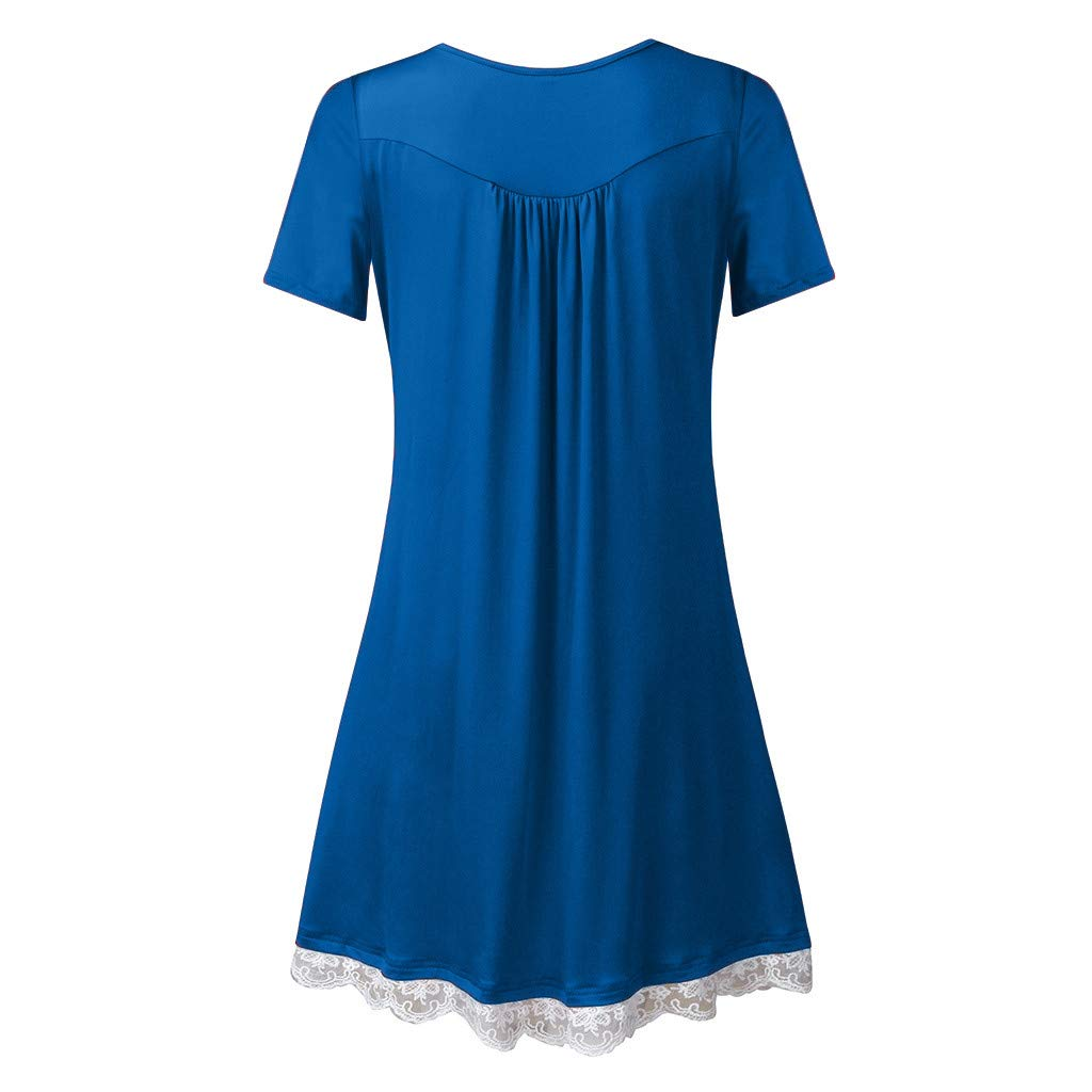squarex  Women Dresses Elegant Summer Casual Women O Neck Casual Button Sleeveless Above Knee Dress Loose Party Lace Dress