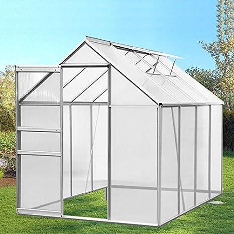 IDMarket - Invernadero de jardín de aluminio y policarbonato, 4, 75 m², 250 x 190 x 195 cm: Amazon.es: Jardín