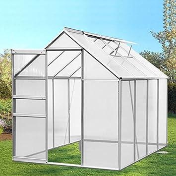 IDMarket - Serre de jardin aluminium et polycarbonate 4.75 m² ...