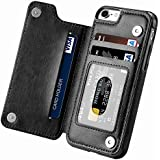 iphone 7 case,iphone 8 Wallet Case with Card Holder Kickstand Card Slots Shockproof Cover for iphone 7/8 Black