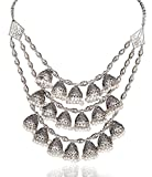 Sansar India Oxidized Jhumka Style Multistrand Indian Necklace Jewelry for Girls and Women
