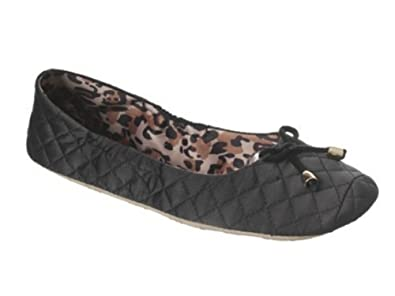 Amazon.com | Dearfoams Womens Quilted Black Satin Slippers Ballet ...