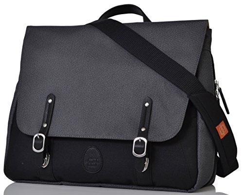 - PacaPod Prescott Combi Black Charcoal Designer Baby Diaper Bag - Unisex Black Convertible Satchel