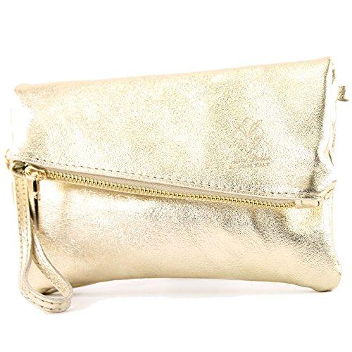 Leather Gold da Nappa metallic De Ital polso Modamoda t95 Borsa Mini nqSBWOO6
