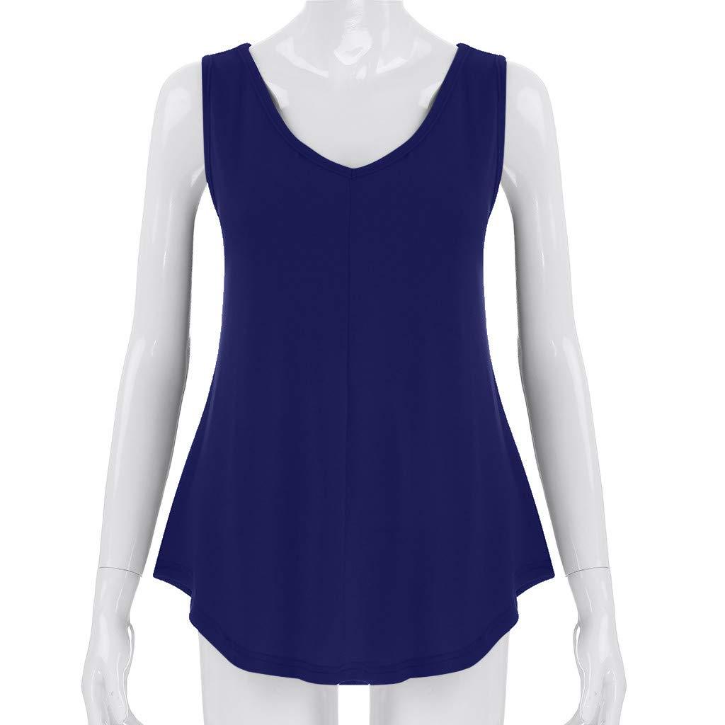 Dorical Camiseta De Mujer Blusa Chalecos Moda De Verano Causal Simple Tallas Grandes Color S/ólido Escote En V Camisa Sin Mangas Con Corte Slim Holgada S-5XL