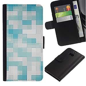 EuroTech - HTC One M8 - Checkered Pattern Blue White Tiles - Cuero PU Delgado caso Billetera cubierta Shell Armor Funda Case Cover Wallet Credit Card