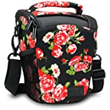 SLR/DSLR Camera Case Bag with Top Loading Accessibility , Adjustable Shoulder Sling , Padded Handle , Removeable Rain Cover & Weather Resistant Bottom by USA Gear - Floral
