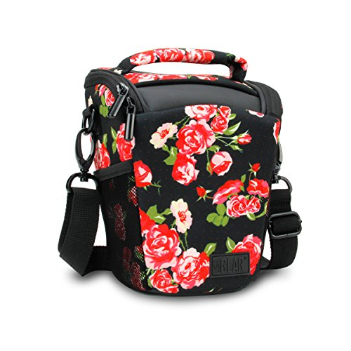 SLR/DSLR Camera Case Bag with Top Loading Accessibility , Adjustable Shoulder Sling , Padded Handle , Removeable Rain Cover & Weather Resistant Bottom by USA Gear – Floral