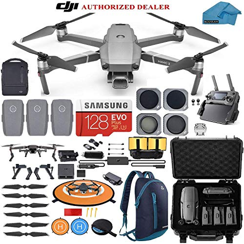 - DJI Mavic 2 PRO Drone Quadcopter Fly More Combo, with 3 Batteries Hard Case Backpack and ND, CPL Lens Filters, 128GB SD Card with Hasselblad Video Camera Gimbal Bundle Kit with Must Have Accessories