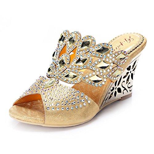 Wedge Fashion Doris Sandals Evening Glitter T018p Heel Women's Wedding Gold Rhinestones gs Dress xf66nwqCp
