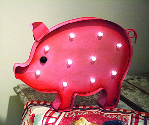 ArtFuzz Solar Led Lighted Pig Set of2 11.5X3X13 by Manual