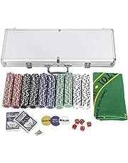 COSTWAY 500 Stuks Casino Poker Chips Set, Texas Holdem Poker met Aluminium Koffer, 2 Decks Speelkaarten, 5 Dobbelstenen, 3 Dealerknoppen, 1 Tafel Pokermat, Complete Poker Chips set voor Texas Holdem, Blackjack, Gokken