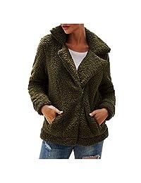 VEZAD Store Womens Teddy Bear Warm Coat Lapel Zip Up Faux Fur Shearling Fuzzy Fleece Jacket