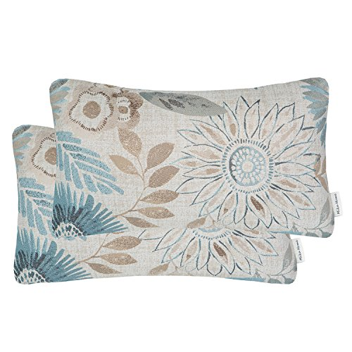 Mika Home Pack of 2 Decorative Oblong Rectangular Throw Pillow Cover Cushion Cases for Chair,Sunflower Pattern,12x20 Inches, Blue Cream by Mika Home